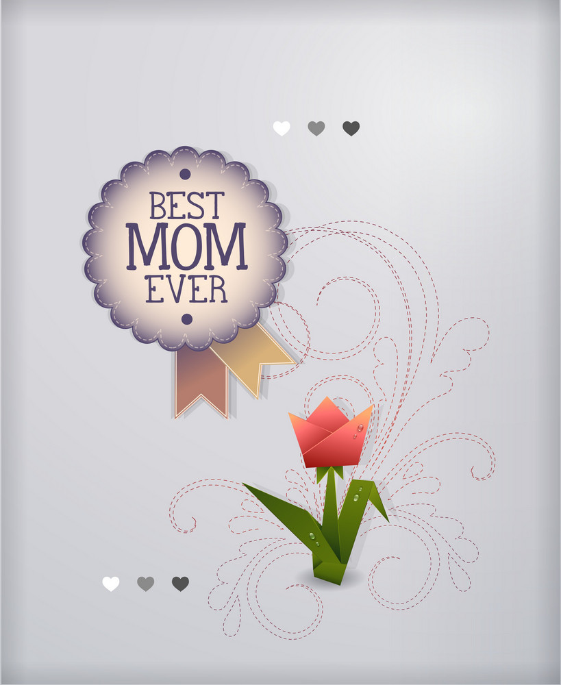 Mother's Day Vector Illustration With Flowers And Badge