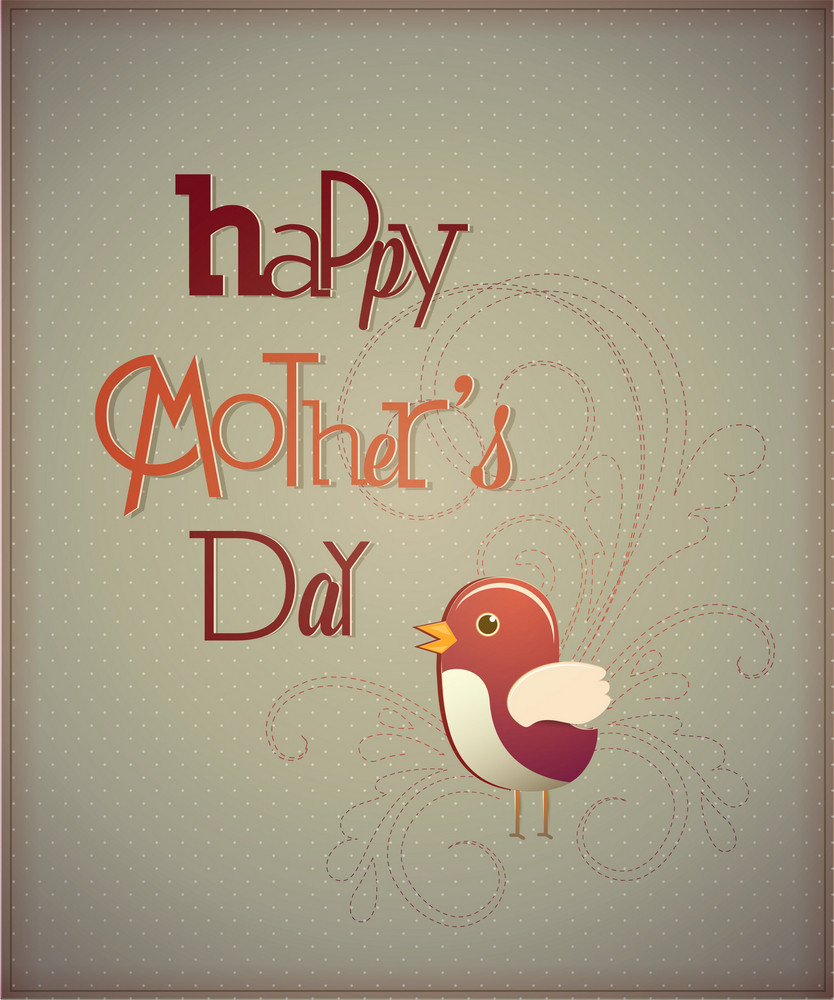 Mother's Day Vector Illustration With  Flowers And Bird