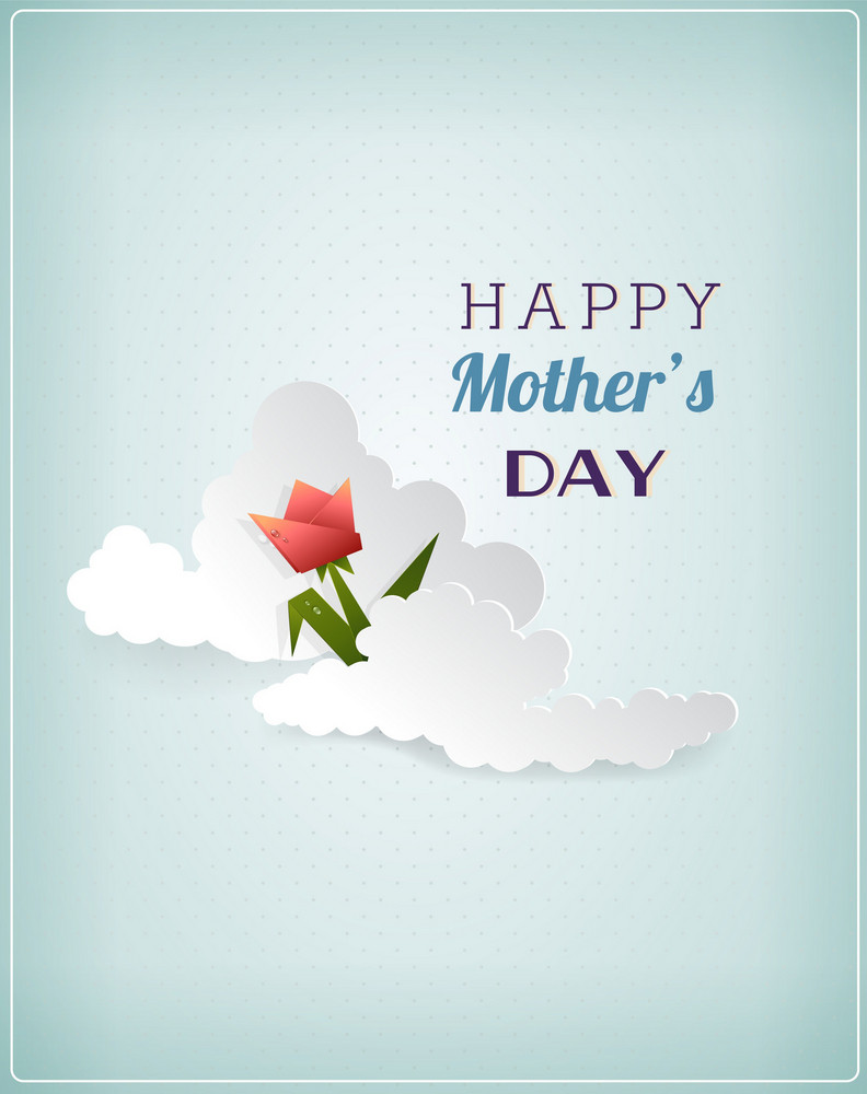 Mother's Day Vector Illustration With Flowers And Clouds