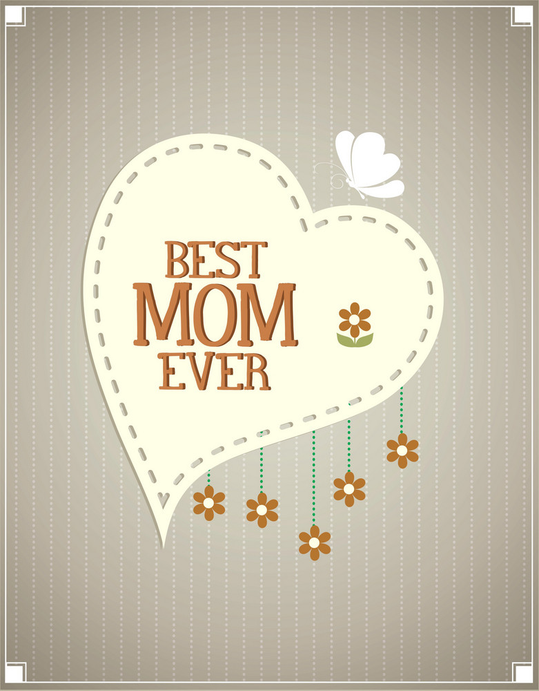 Mother's Day Vector Illustration With Flowers And Heart