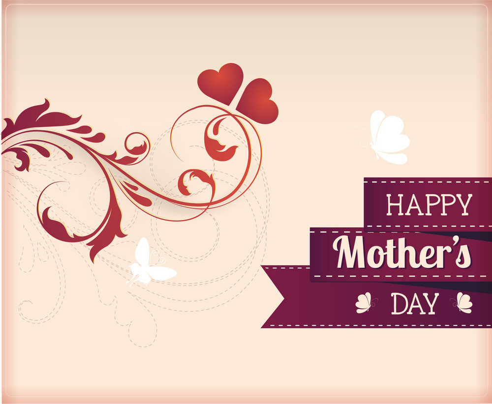 Mother's Day Vector Illustration With Flowers And Ribbon