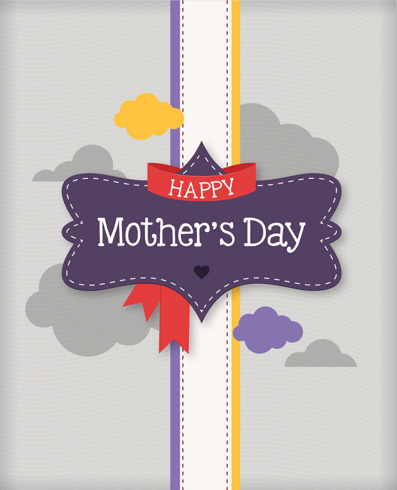 Mother's Day Vector Illustration With Flowers, Paper, Clouds And Label