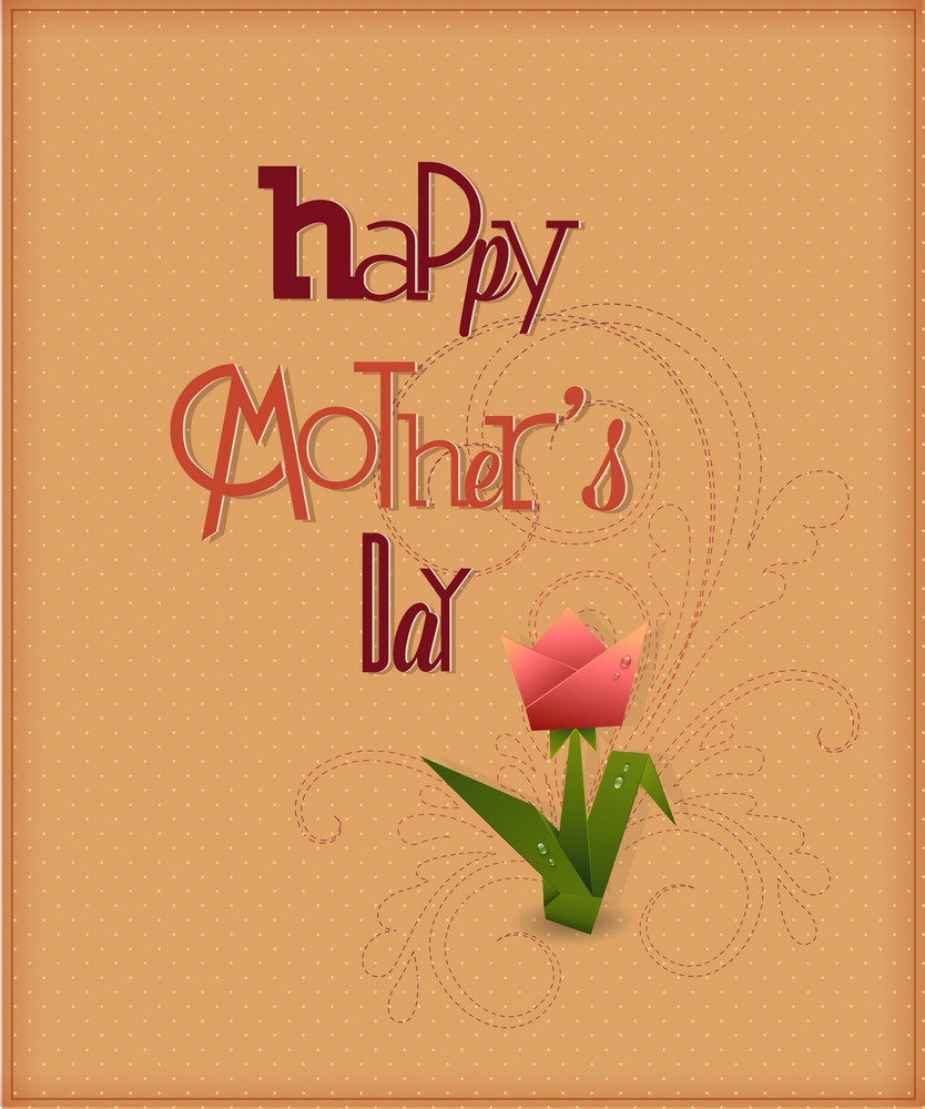 Mother's Day Vector Illustration With Flowers