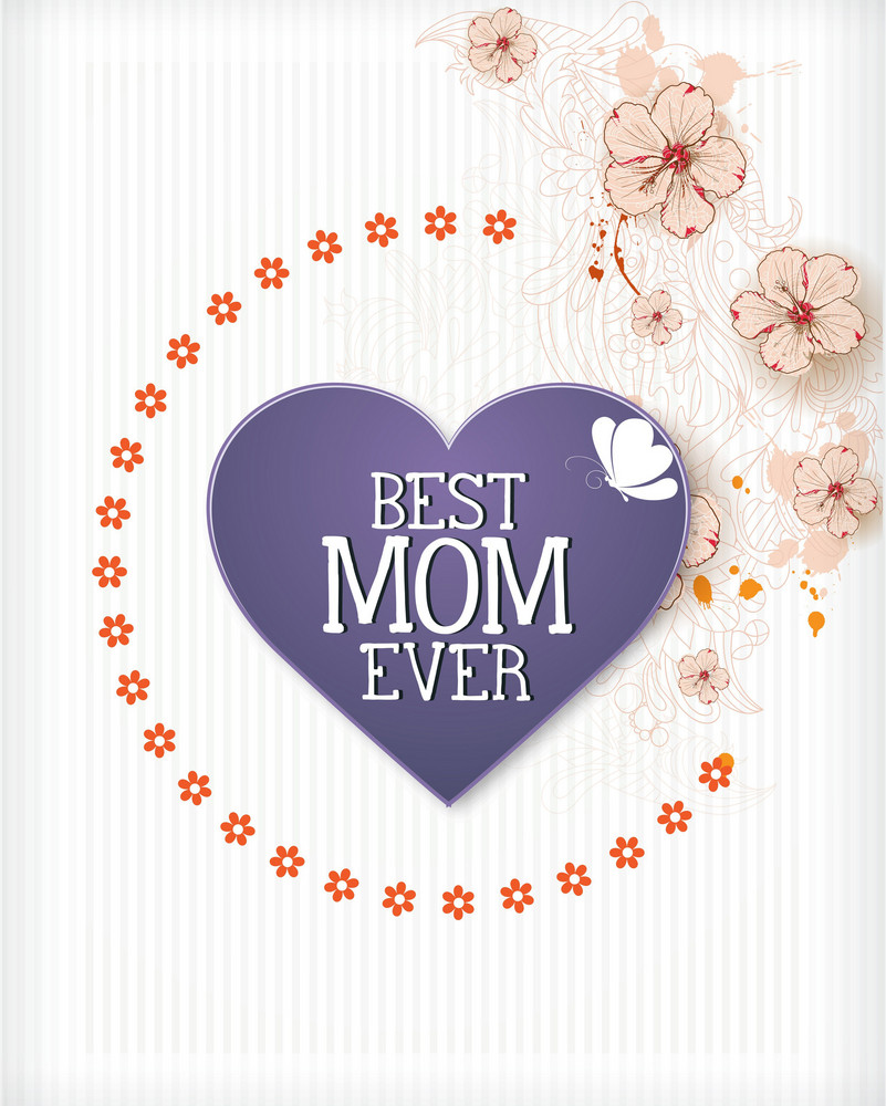 Mother's Day Vector Illustration With Flowers,heart