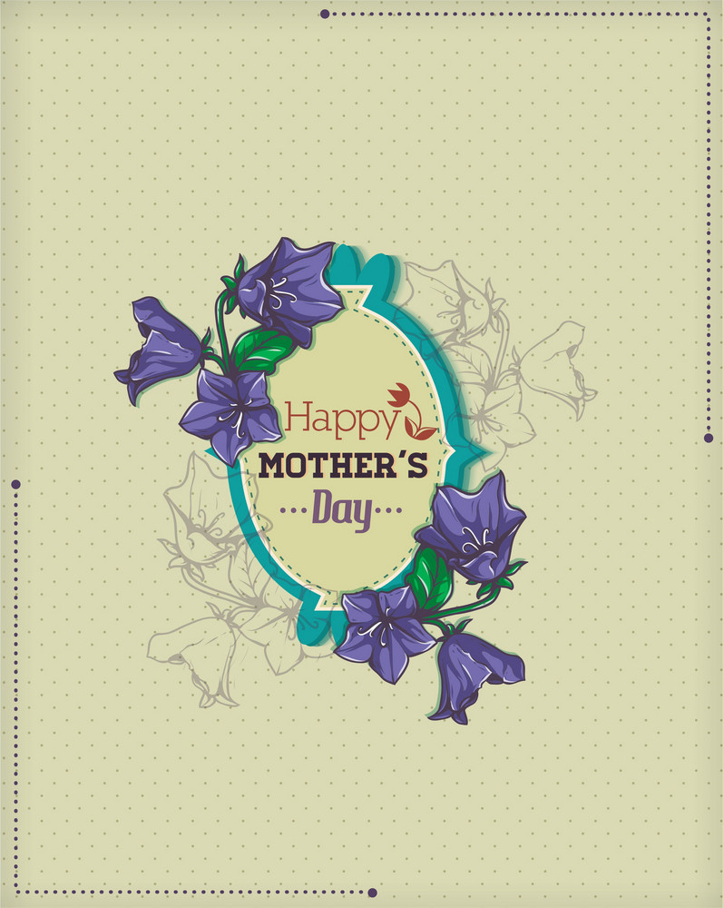 Mother's Day Vector Illustration With Frame And Spring Flowers