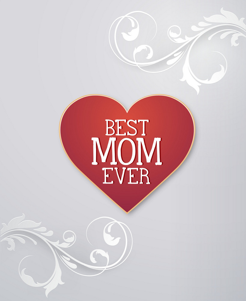 Mother's Day Vector Illustration With Heart And Flowers