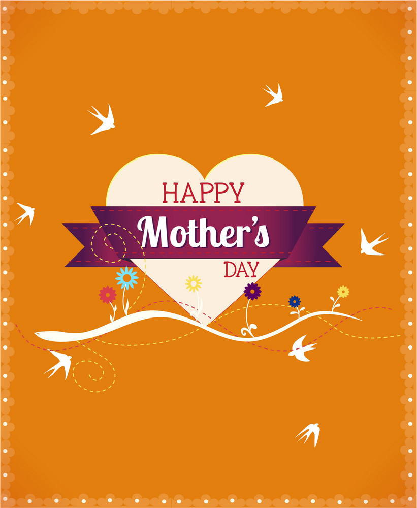 Mother's Day Vector Illustration With Heart