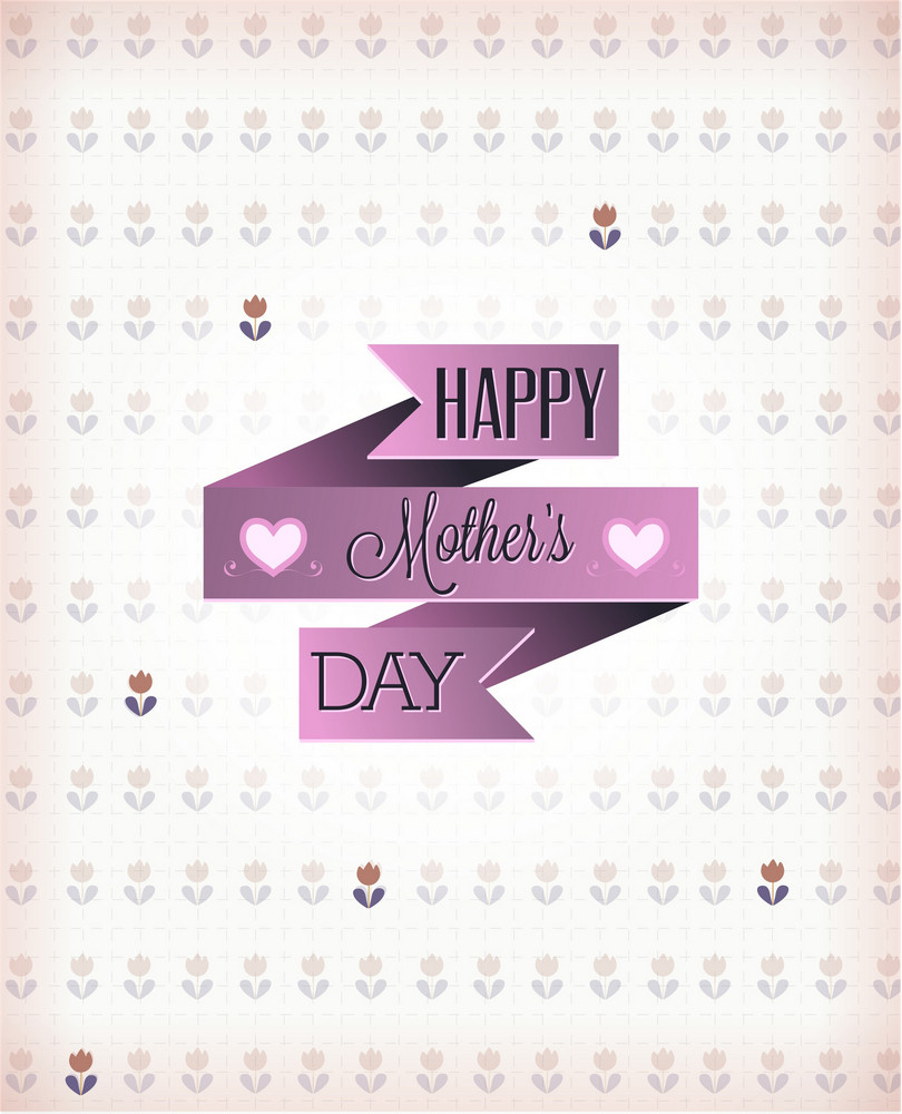 Mother's Day Vector Illustration With Ribbon And Flowers