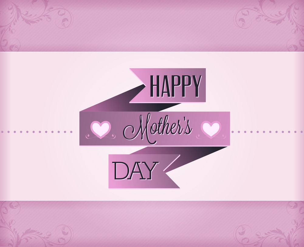 Mother's Day Vector Illustration With Ribbon