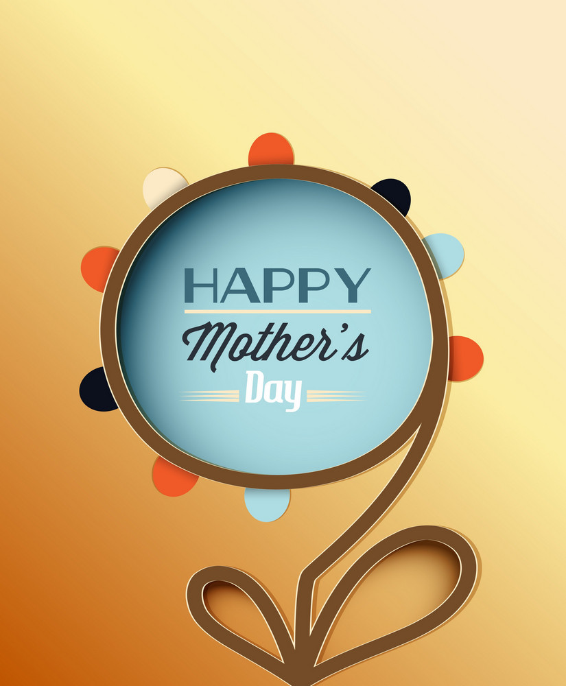 Mother's Day Vector Illustration With Spring Abstract  Flower