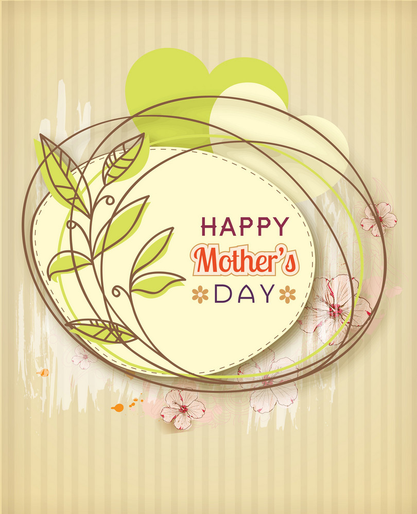 Mother's Day Vector Illustration With Spring Doodle Flowers And Frame