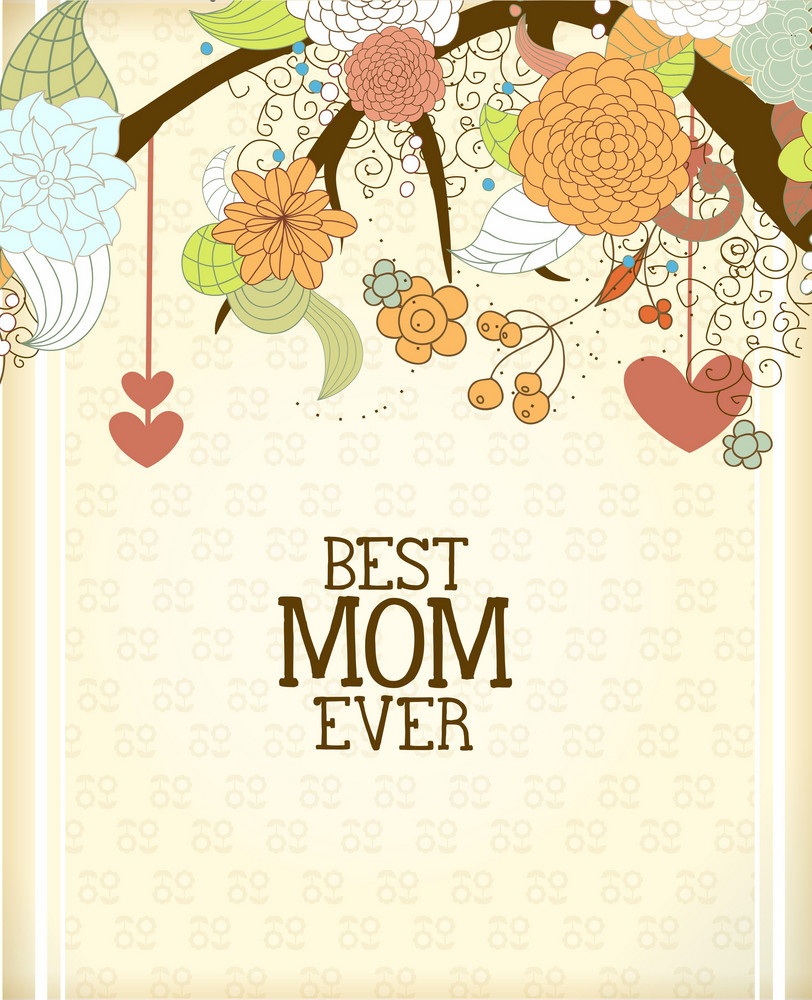 Mother's Day Vector Illustration With Spring Doodle Flowers And Hearts