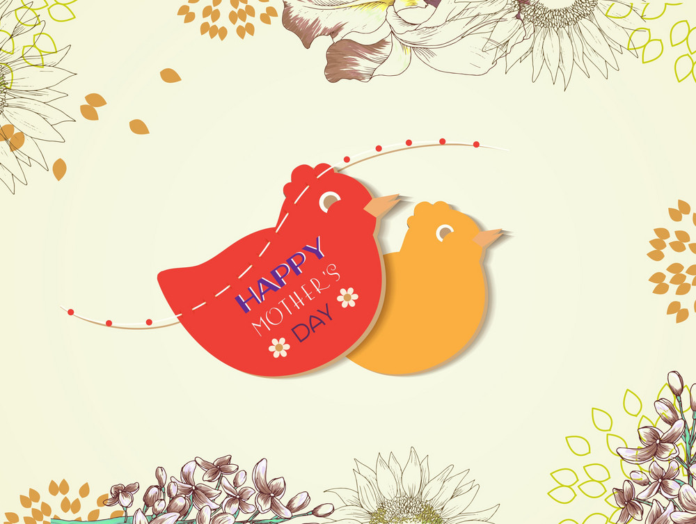 Mother's Day Vector Illustration With Spring Flowers And Birds