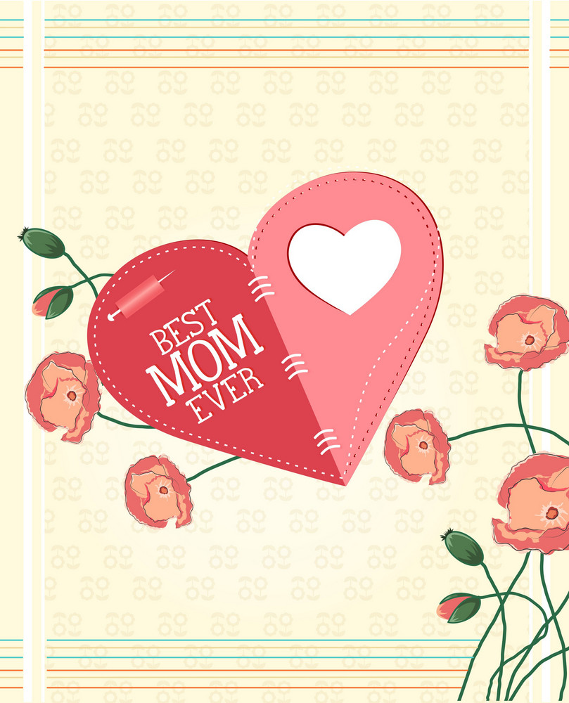 Mother's Day Vector Illustration With Spring Flowers And Doodle Heart