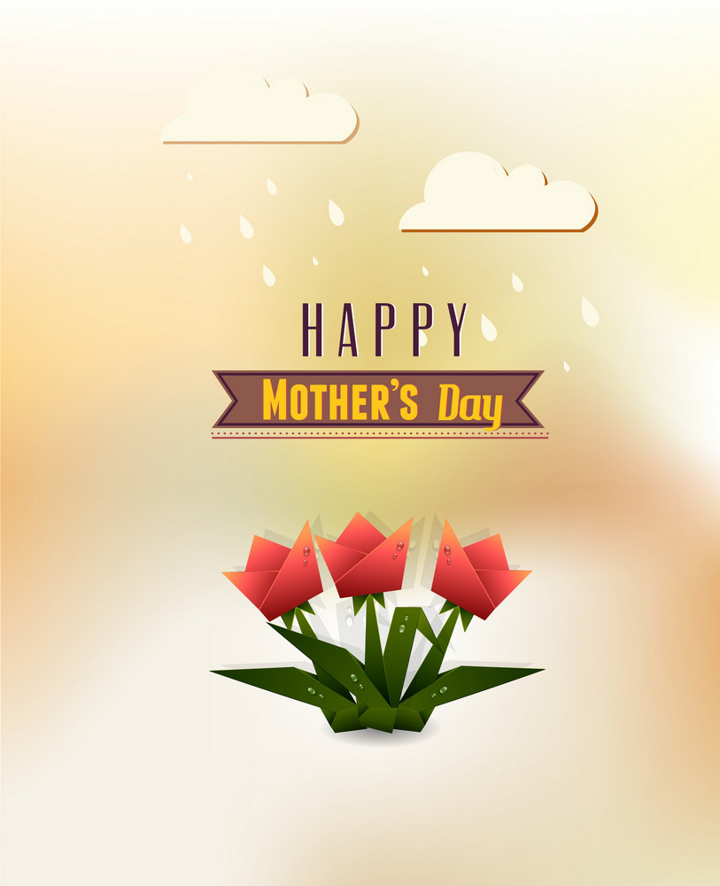 Mother's Day Vector Illustration With Spring Flowers ,ribbon And Clouds