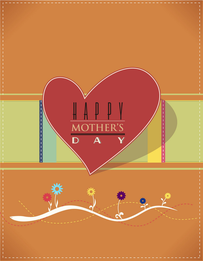 Mother's Day Vector Illustration With Spring  Retro Heart