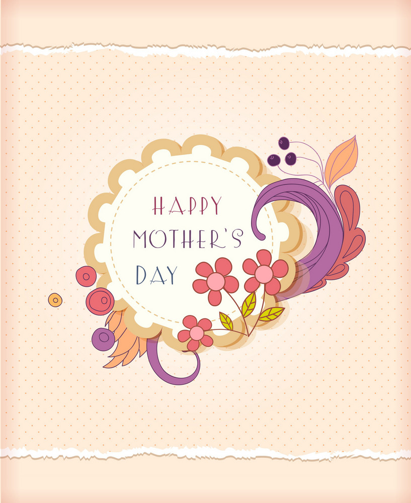 Mother's Day Vector Illustration With Sticker And Flowers