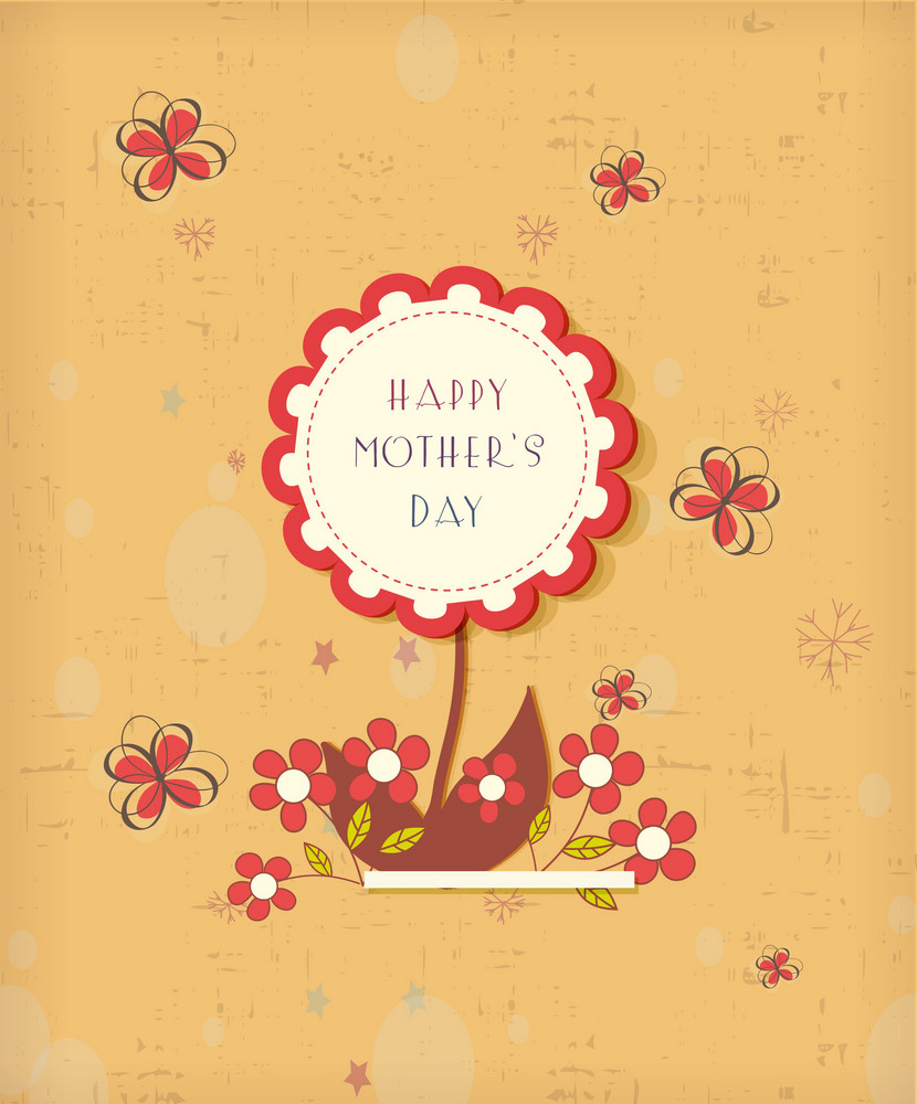 Mother's Day Vector Illustration With  Sticker Flowers