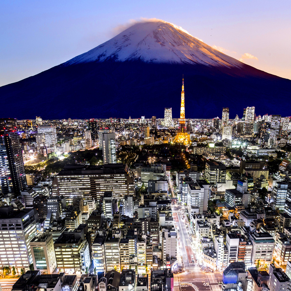 Mount Fuji and tokyo city in twilight