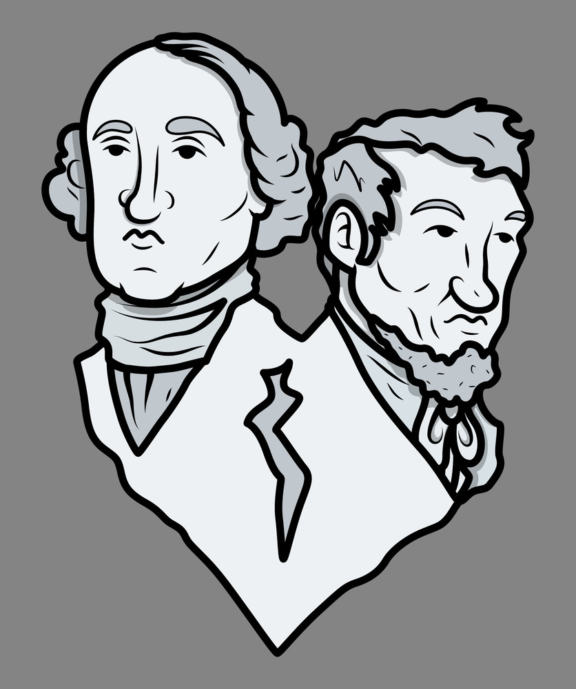 Mount Rushmore Style Sculpture Washington And Lincoln Vector Clip Art Illustration