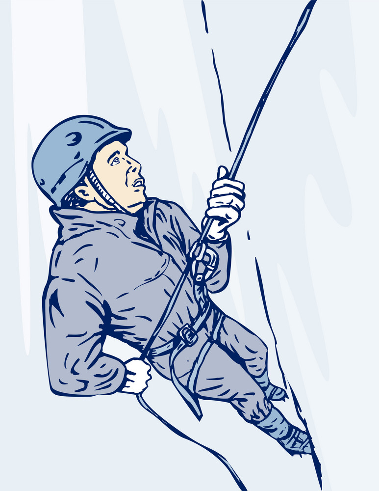 Mountain Climber Climbing Retro