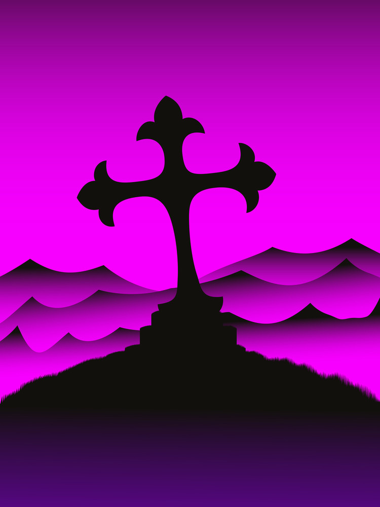 Mountain Hill Background With Cross