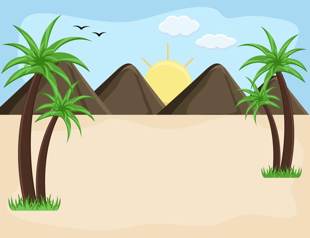 Mountain Landscape - Cartoon Background Vector