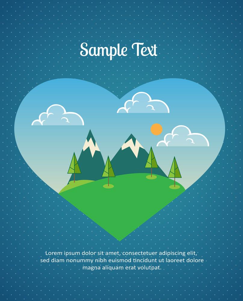 Mountain Landscape In Heart (editable Text)