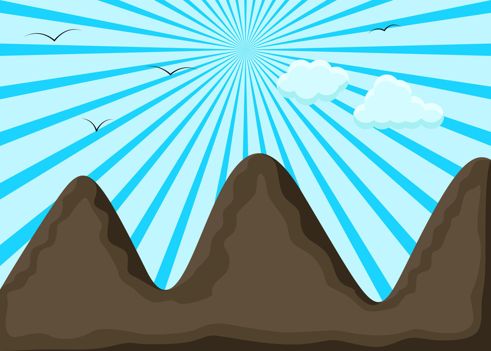 Mountain Landscape Sunburst Background