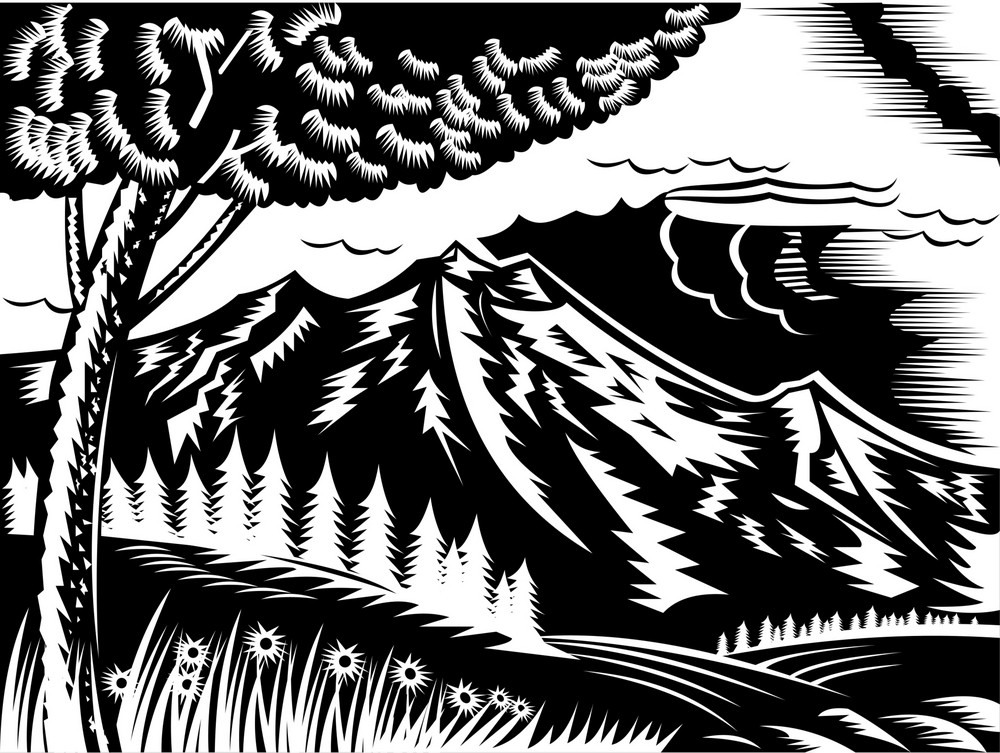 Mountain Scene With Tree And Clouds