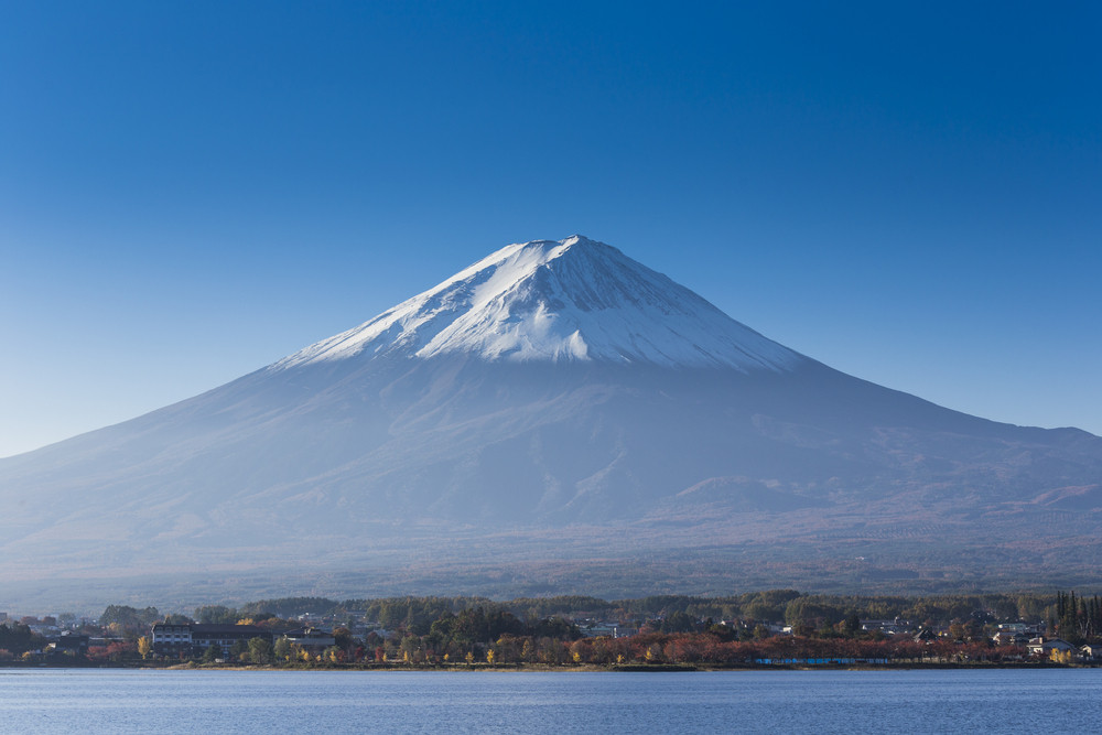 Mt. fuji with lake and city view
