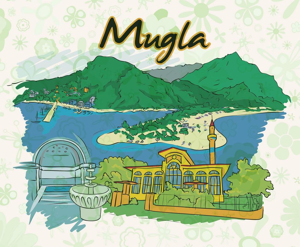 Mugla Doodles With Floral Vector Illustration