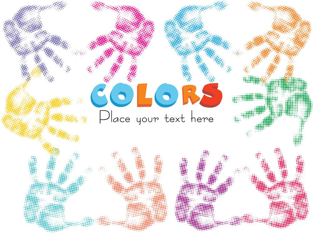 Multicolor Fingerprints Isolated On White