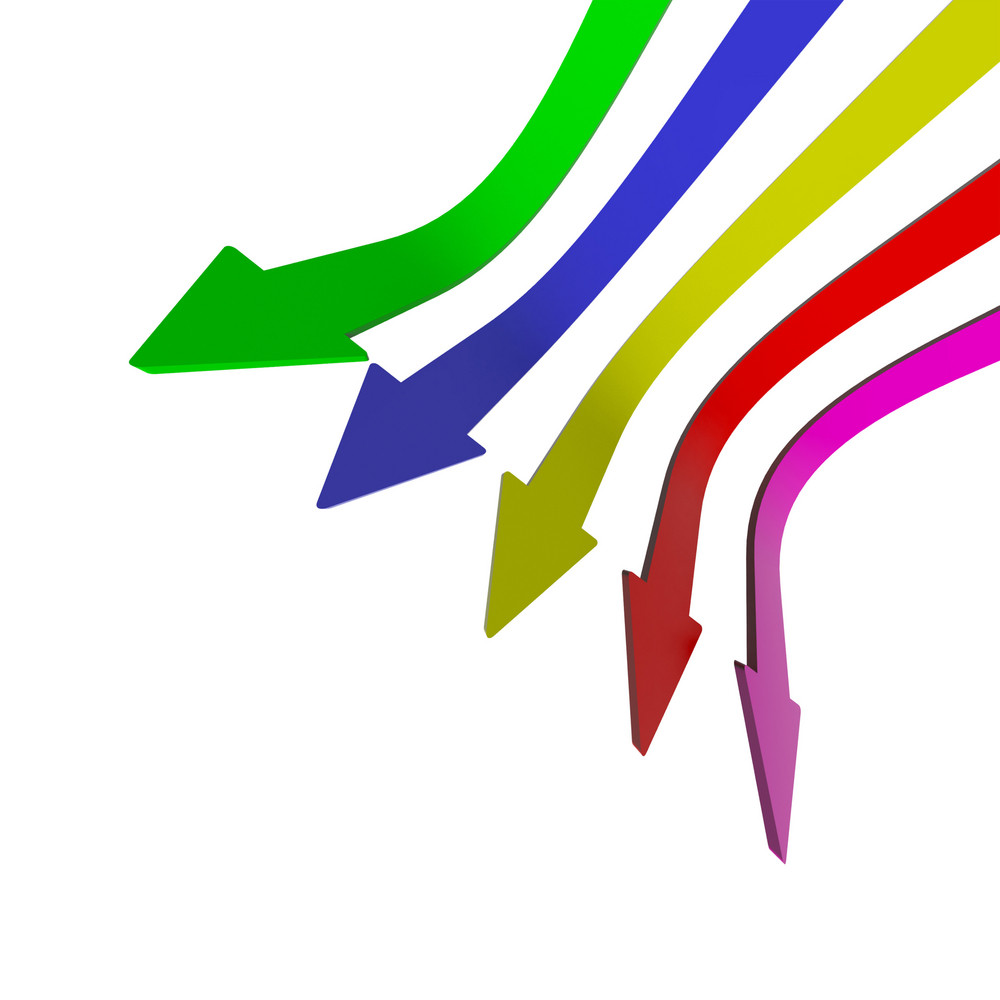 Multicolored Arrows Pointing Down With Blank Copyspace Background Showing Fall Or Failure