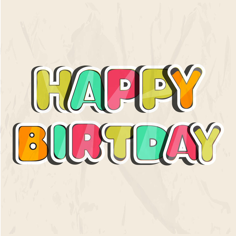 Multicolored Happy Birthday Text On Grungy Background