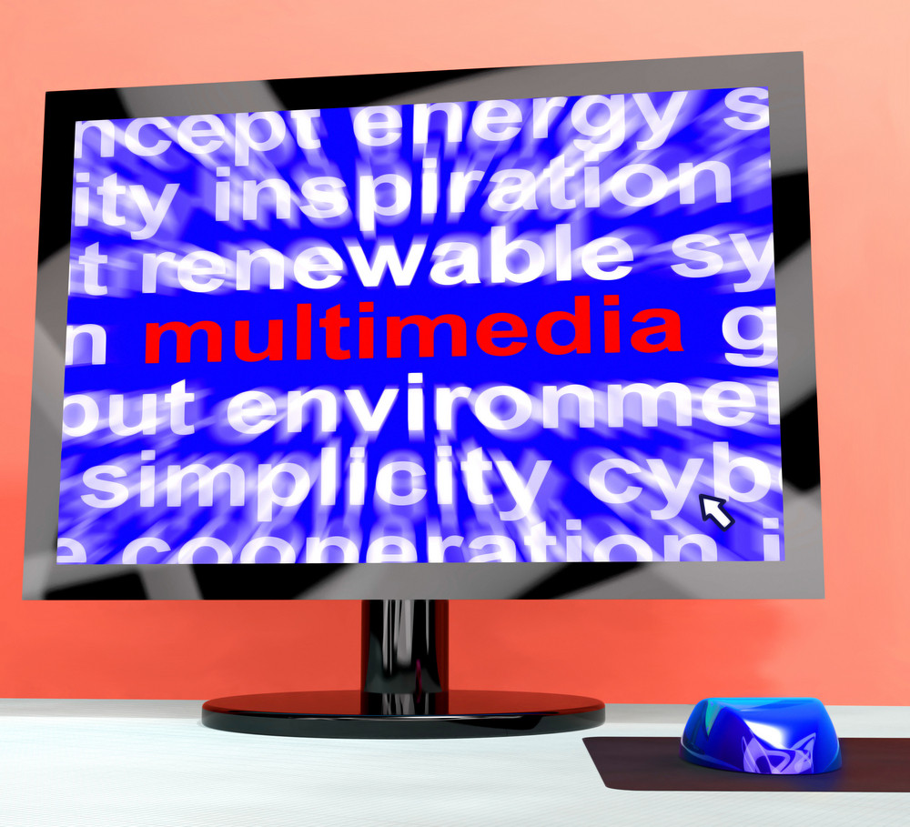 Multimedia Word On Computer Showing Digital Technology For Movies