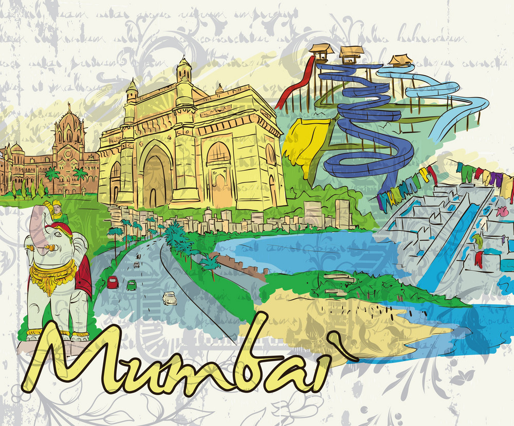 Mumbai Doodles Vector Illustration