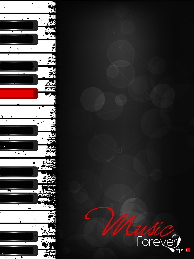 Music Background With Piano Having Red Key And Text Space. Vector Illustration.
