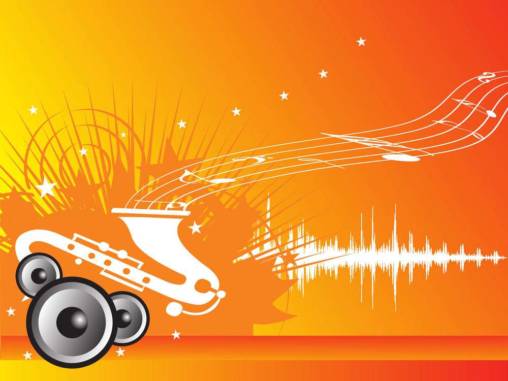 Music Fan Vector Illustration With Orange Background