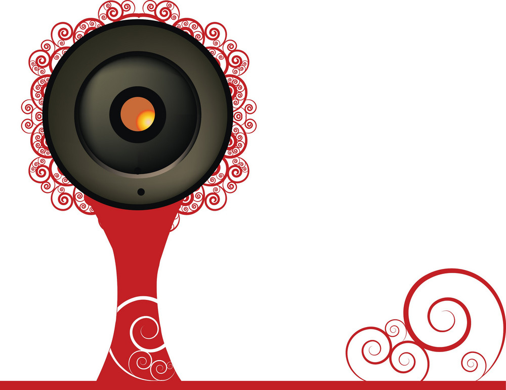Music Illustration Of A Speaker With Floral