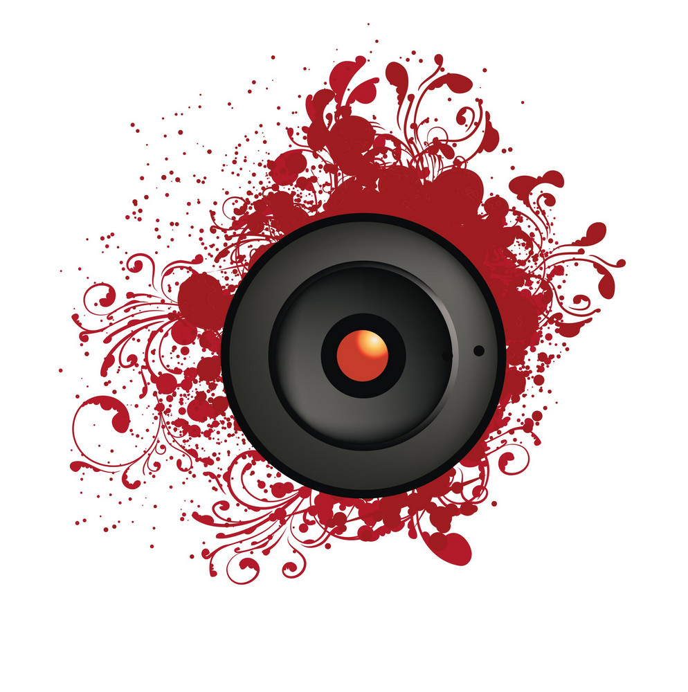 Music Illustration Of A Speaker With Grunge