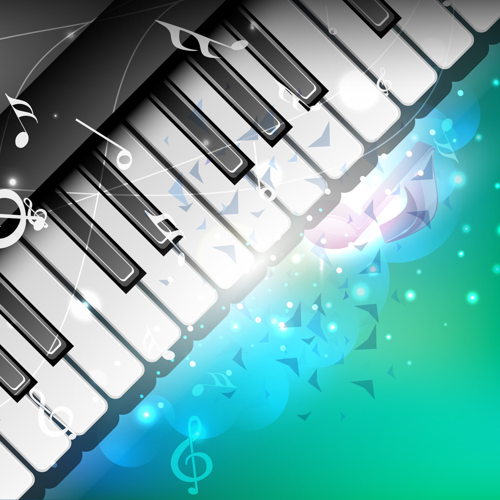 Music Notes On Creative Background With Piano Keys