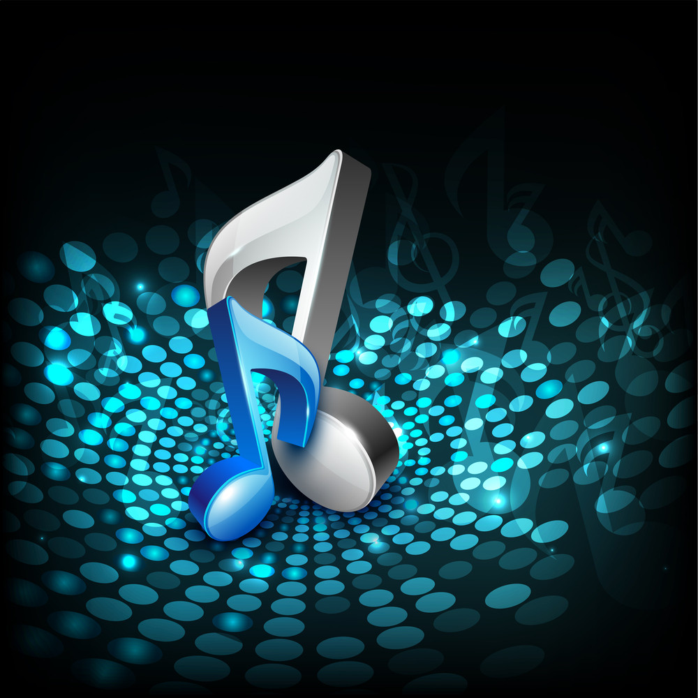 Music Party Concept With Musical Notes On Shiny Background