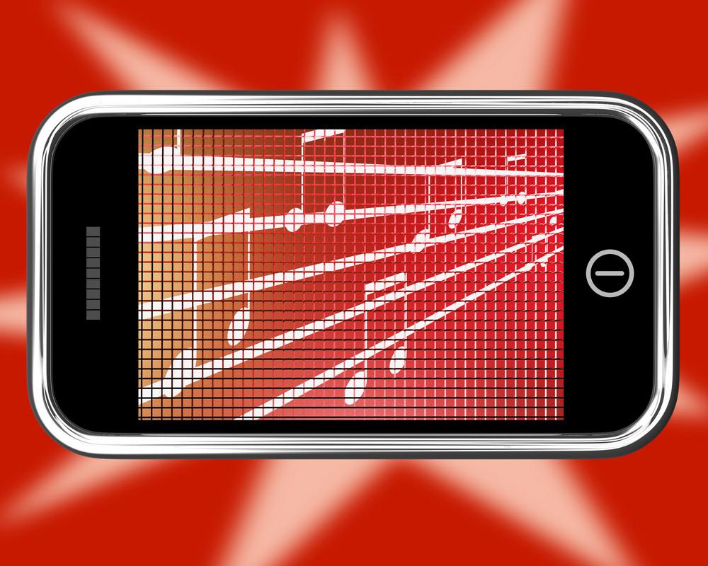 Music Symbols On Mobile Phone Shows Online Radio