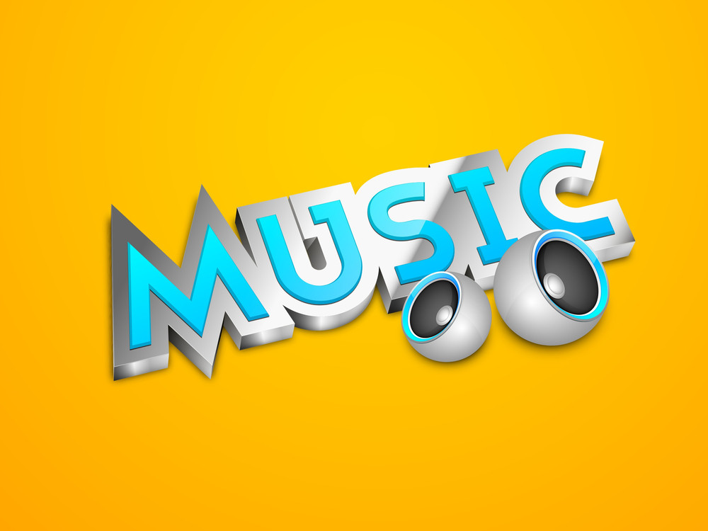 Music Text With Speakers On Yellow Background