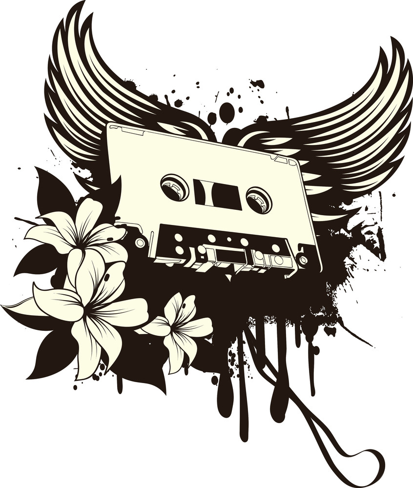 Music Vector T-shirt Design With Cassette