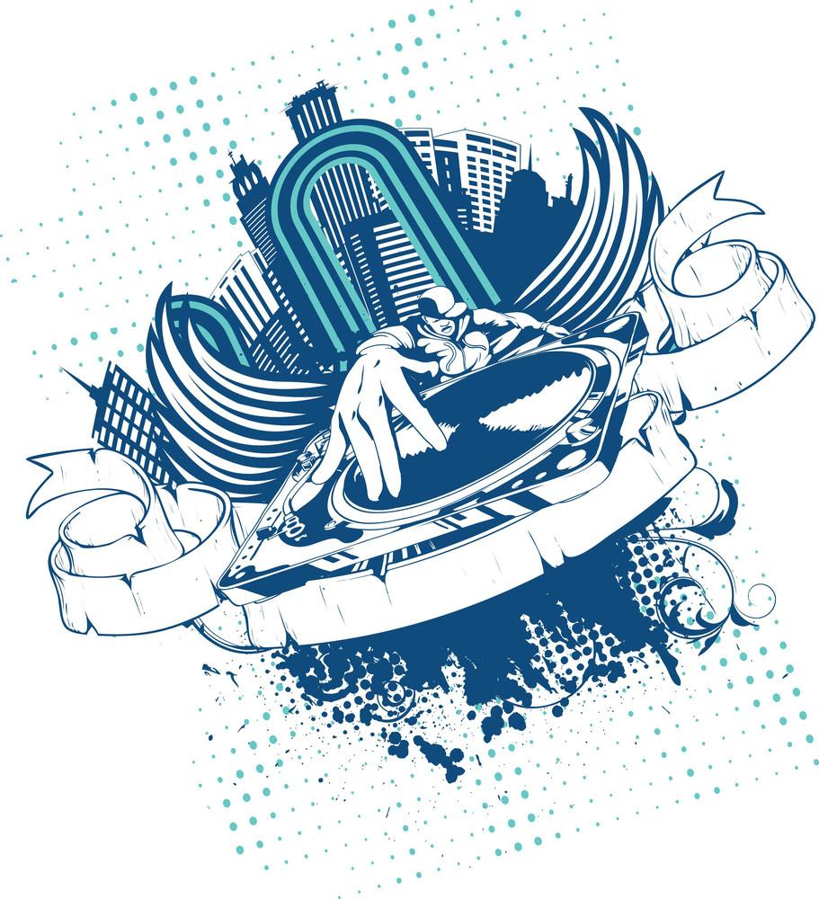 Music Vector T-shirt Design With Dj