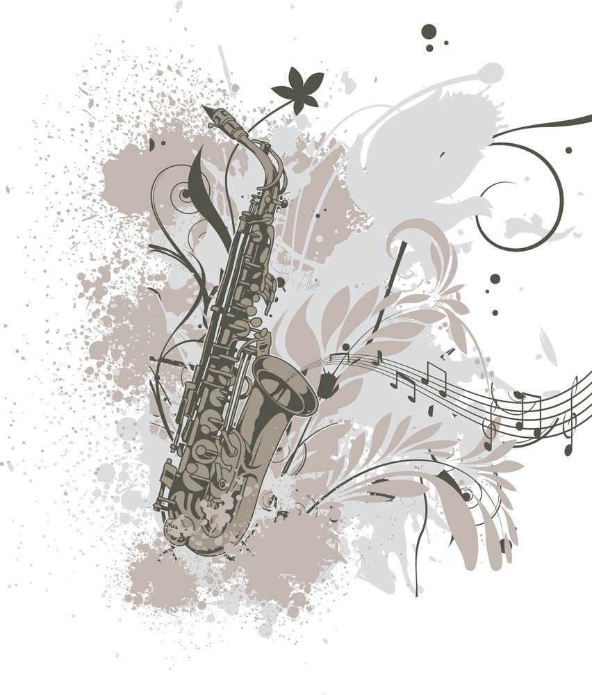 Music Vector T-shirt Design With Saxophone