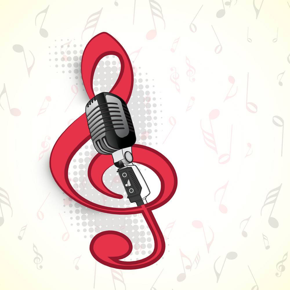Abstract musical concept with music symbol and mike royalty free abstract musical concept with music symbol and mike biocorpaavc Images