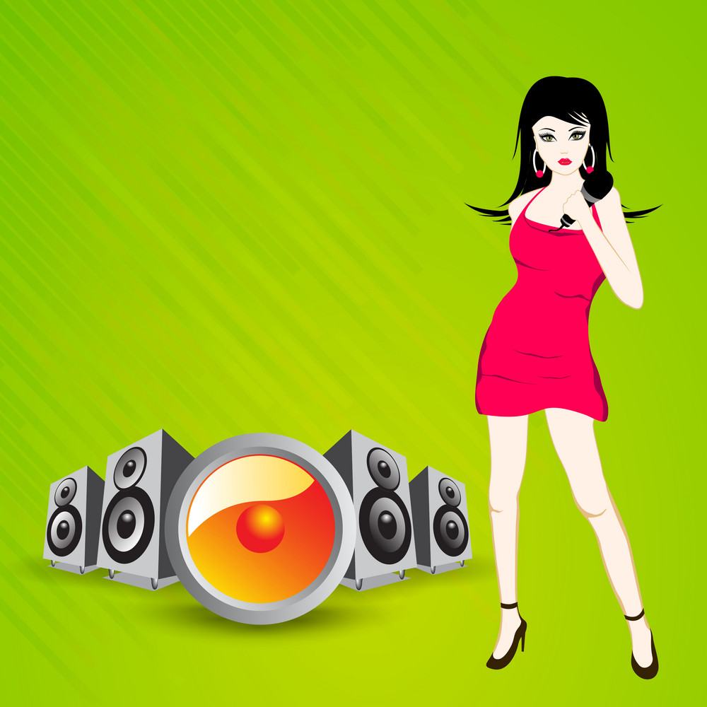 Abstract music background with disco girl and loud speakers